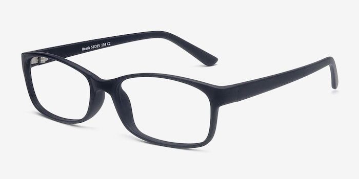 Beads Matte Navy Plastic Eyeglass Frames from EyeBuyDirect, Angle View