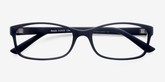 Beads Matte Navy Plastic Eyeglass Frames from EyeBuyDirect, Closed View