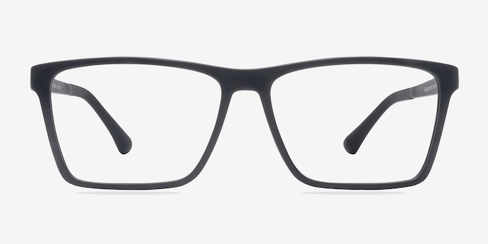 Equation Matte Black Plastic Eyeglass Frames from EyeBuyDirect, Front View