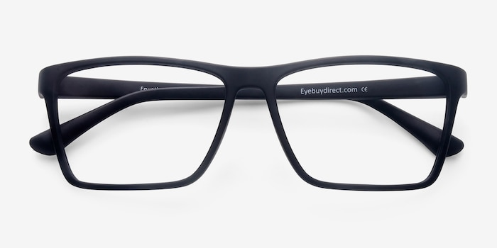 Equation Matte Black Plastic Eyeglass Frames from EyeBuyDirect, Closed View