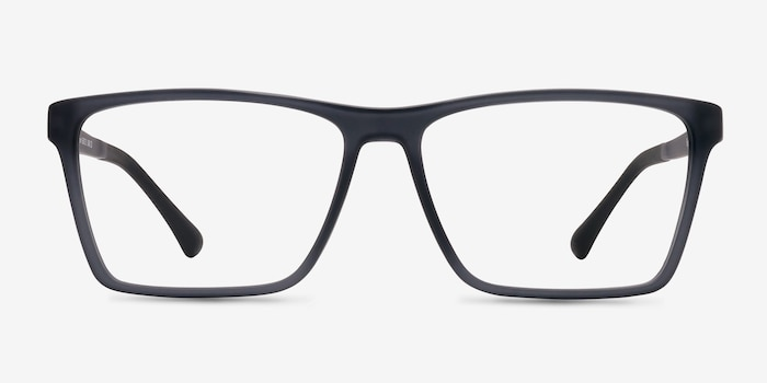Equation Matte Gray Plastic Eyeglass Frames from EyeBuyDirect, Front View