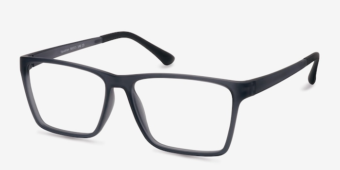 Equation Matte Gray Plastic Eyeglass Frames from EyeBuyDirect, Angle View
