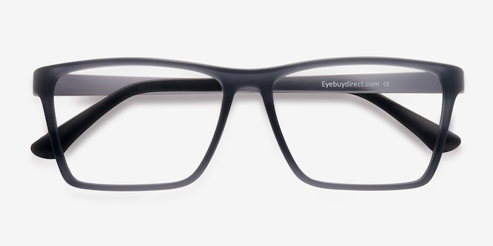 Equation Matte Gray Plastic Eyeglass Frames from EyeBuyDirect, Closed View
