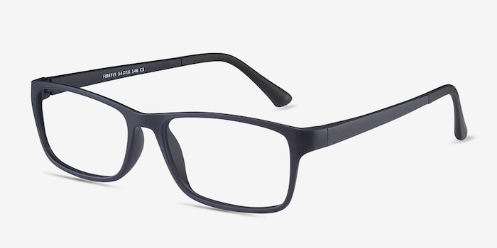 Firefly Matte Navy Plastic Eyeglass Frames from EyeBuyDirect, Angle View