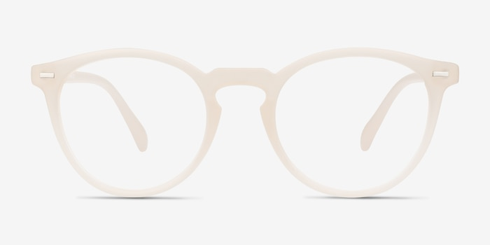 Peninsula Matte White Plastic Eyeglass Frames from EyeBuyDirect, Front View