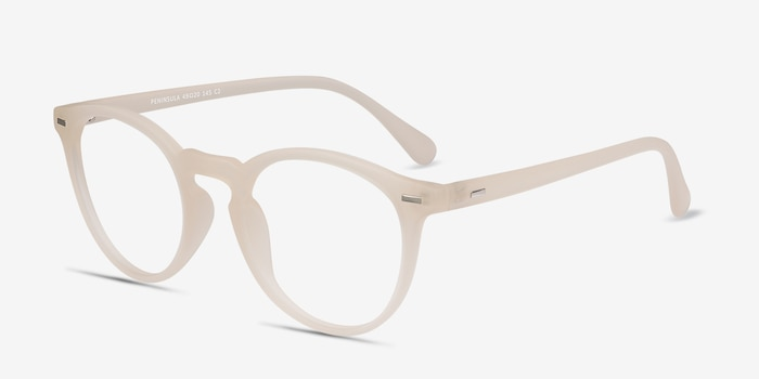 Peninsula Matte White Plastic Eyeglass Frames from EyeBuyDirect, Angle View