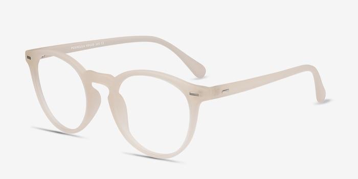 Peninsula Matte White Plastique Montures de Lunettes d'EyeBuyDirect, Vue d'Angle