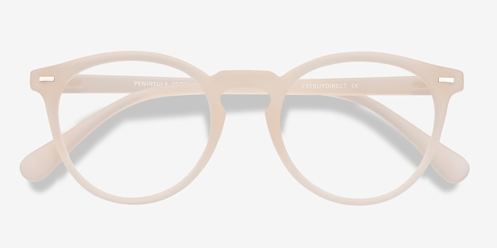 Peninsula Matte White Plastic Eyeglass Frames from EyeBuyDirect, Closed View