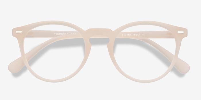 Peninsula Matte White Plastique Montures de Lunettes d'EyeBuyDirect, Vue Rapprochée