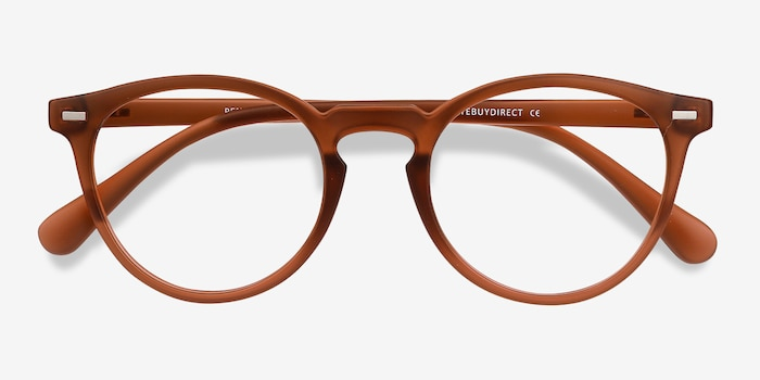 Peninsula Matte Redwood Plastic Eyeglass Frames from EyeBuyDirect, Closed View