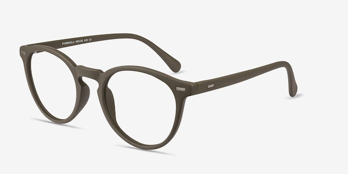 Peninsula Matte Green Plastic Eyeglass Frames from EyeBuyDirect, Angle View