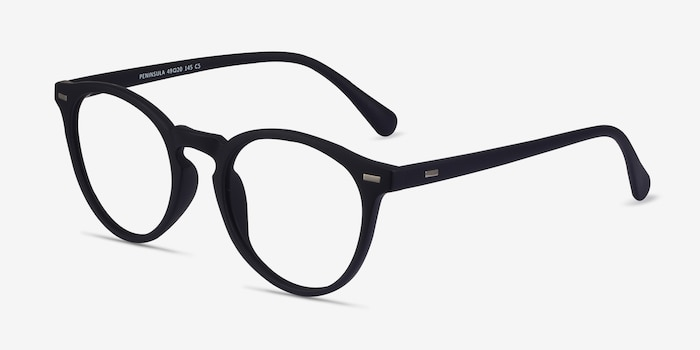 Peninsula Matte Navy Plastic Eyeglass Frames from EyeBuyDirect, Angle View