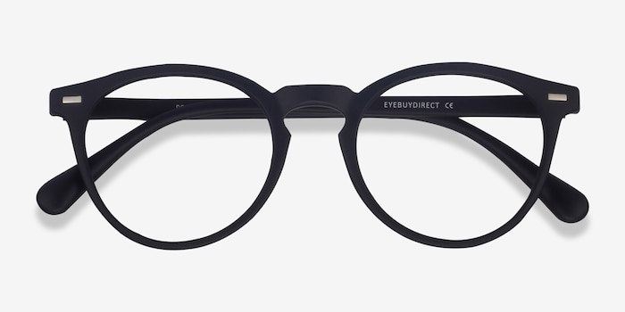 Peninsula Matte Navy Plastic Eyeglass Frames from EyeBuyDirect, Closed View