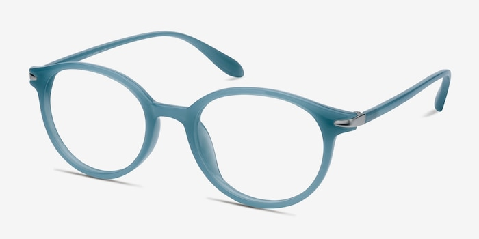 Indigo Blue Plastic Eyeglass Frames from EyeBuyDirect, Angle View