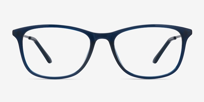Oliver Navy Plastic Eyeglass Frames from EyeBuyDirect, Front View
