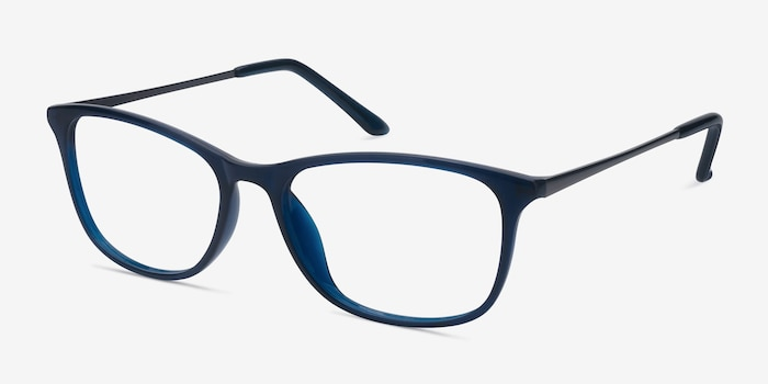 Oliver Navy Plastic Eyeglass Frames from EyeBuyDirect, Angle View