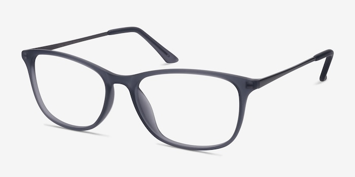 Oliver Matte Gray Plastic Eyeglass Frames from EyeBuyDirect, Angle View