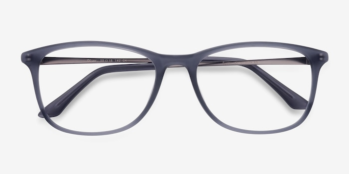 Oliver Matte Gray Plastic Eyeglass Frames from EyeBuyDirect, Closed View