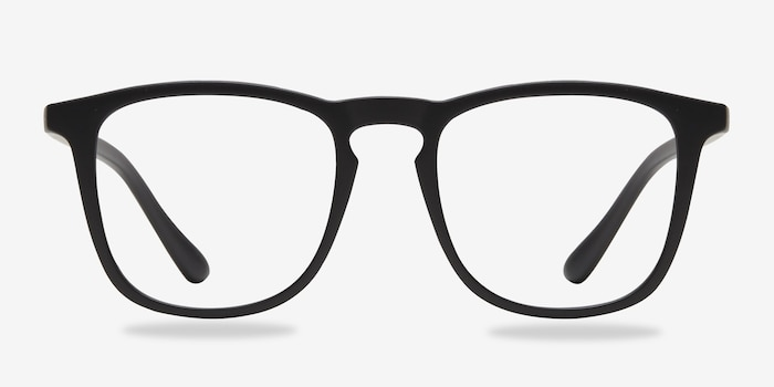 Central Matte Black Plastic Eyeglass Frames from EyeBuyDirect, Front View