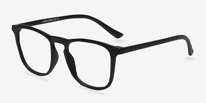 Central Matte Black Plastic Eyeglass Frames from EyeBuyDirect, Angle View