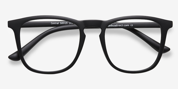 Central Matte Black Plastic Eyeglass Frames from EyeBuyDirect, Closed View