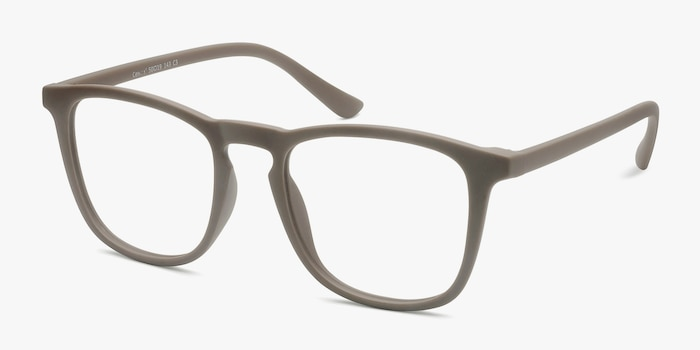 Central  Light Brown  Plastic Eyeglass Frames from EyeBuyDirect, Angle View