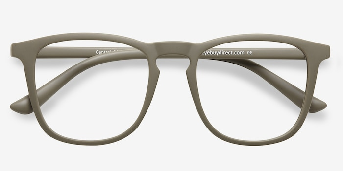 Central  Matte Green  Plastic Eyeglass Frames from EyeBuyDirect, Closed View