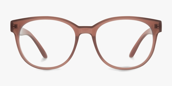 Grace Brown Plastic Eyeglass Frames from EyeBuyDirect, Front View