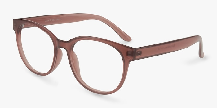 Grace Brown Plastic Eyeglass Frames from EyeBuyDirect, Angle View