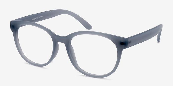 Grace Matte Blue Plastic Eyeglass Frames from EyeBuyDirect, Angle View