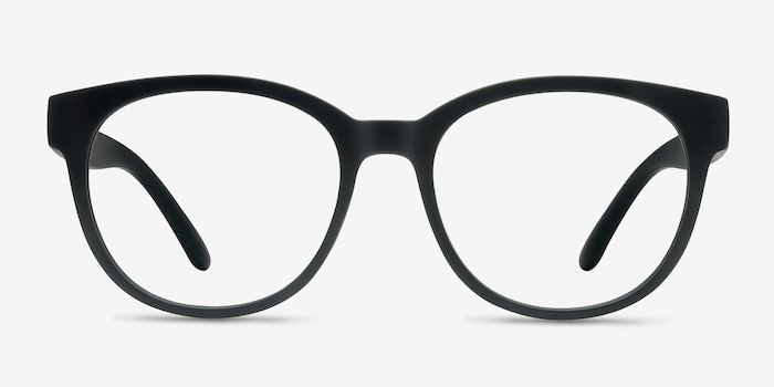 Grace Matte Black Plastic Eyeglass Frames from EyeBuyDirect, Front View