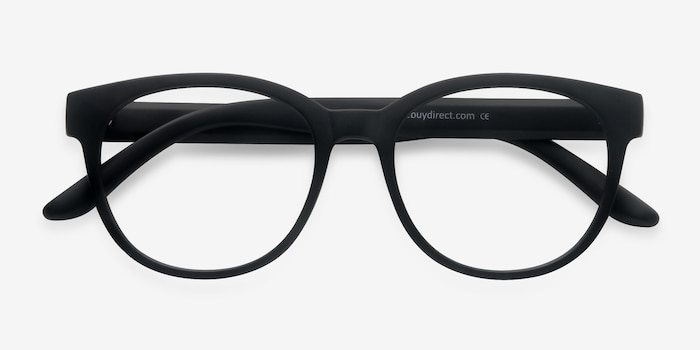 Grace Matte Black Plastic Eyeglass Frames from EyeBuyDirect, Closed View