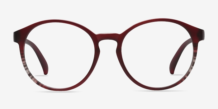 Delaware Matte Burgundy Plastic Eyeglass Frames from EyeBuyDirect, Front View