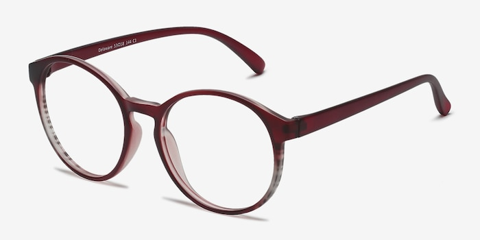 Delaware Matte Burgundy Plastic Eyeglass Frames from EyeBuyDirect, Angle View