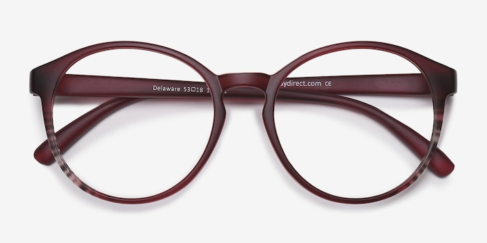 Delaware Matte Burgundy Plastic Eyeglass Frames from EyeBuyDirect, Closed View