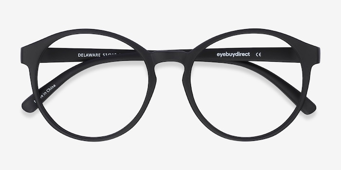 Delaware Matte Black Plastic Eyeglass Frames from EyeBuyDirect, Closed View