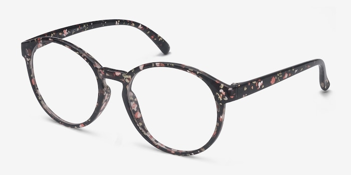 Delaware Floral Plastic Eyeglass Frames from EyeBuyDirect, Angle View