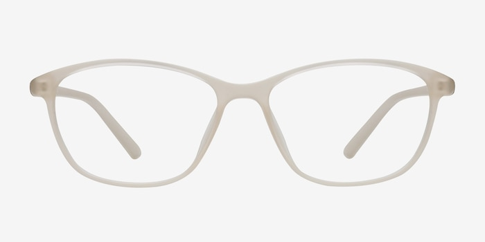 District Matte Beige Plastic Eyeglass Frames from EyeBuyDirect, Front View