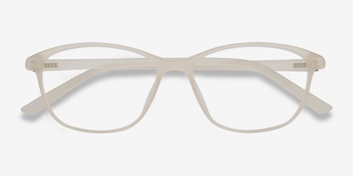 District Matte Beige Plastic Eyeglass Frames from EyeBuyDirect, Closed View
