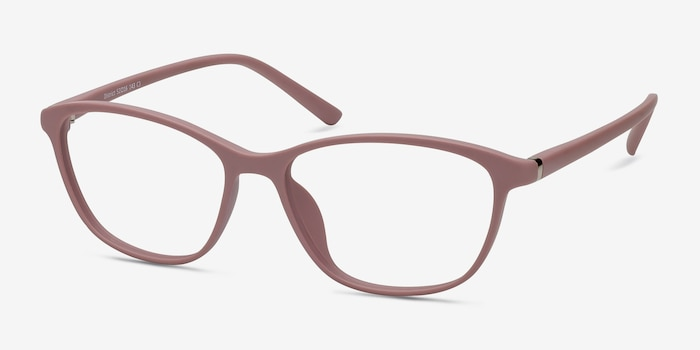 District Matte Pink Plastic Eyeglass Frames from EyeBuyDirect, Angle View