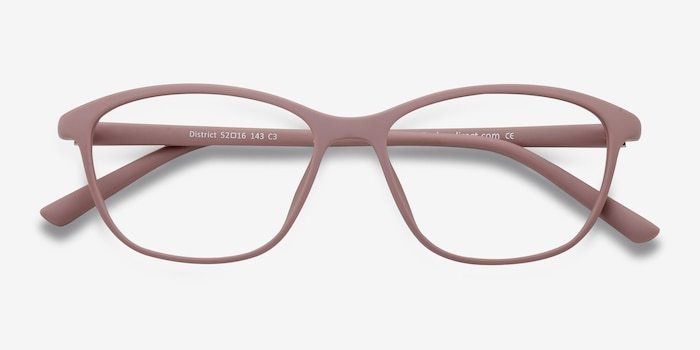 District Matte Pink Plastic Eyeglass Frames from EyeBuyDirect, Closed View