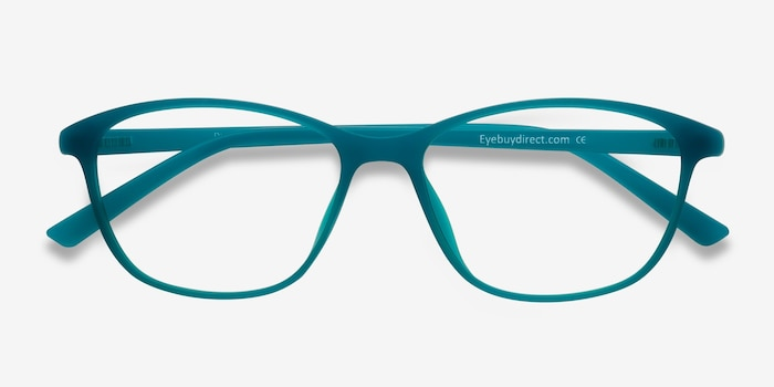 District Matte Green Plastic Eyeglass Frames from EyeBuyDirect, Closed View