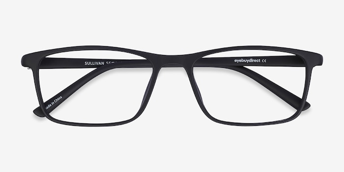 Sullivan Matte Black Plastic Eyeglass Frames from EyeBuyDirect, Closed View