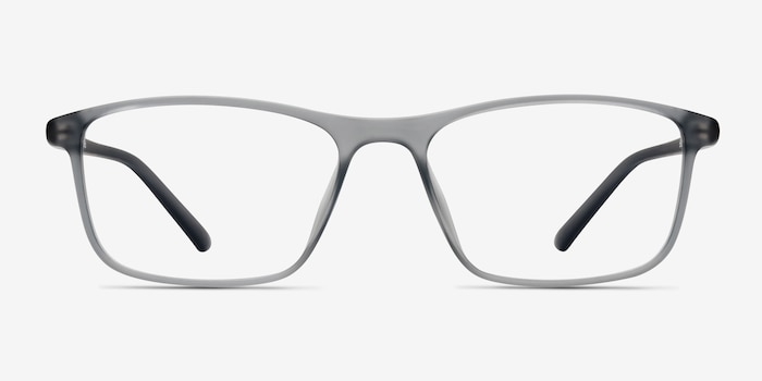Wyoming Matte Gray Plastic Eyeglass Frames from EyeBuyDirect, Front View