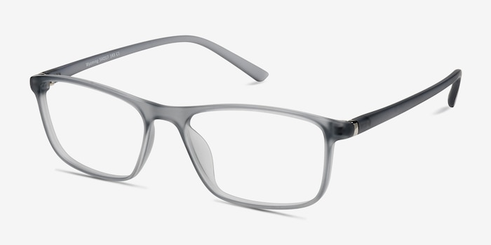 Wyoming Matte Gray Plastic Eyeglass Frames from EyeBuyDirect, Angle View