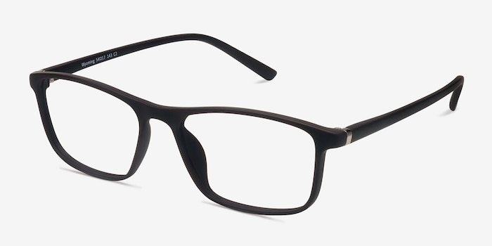 Wyoming Brown Plastic Eyeglass Frames from EyeBuyDirect, Angle View
