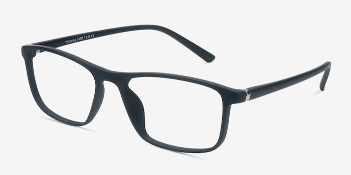 Wyoming Matte Black Plastic Eyeglass Frames from EyeBuyDirect, Angle View
