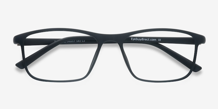 Wyoming Matte Black Plastic Eyeglass Frames from EyeBuyDirect, Closed View