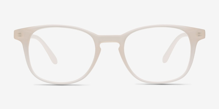 Monday Matte White Plastic Eyeglass Frames from EyeBuyDirect, Front View