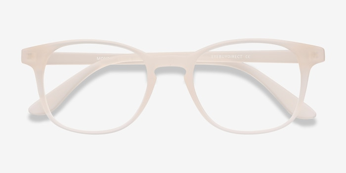 Monday Matte White Plastic Eyeglass Frames from EyeBuyDirect, Closed View
